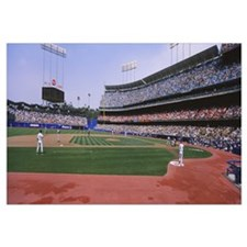 Spectators watching a baseball match, Dodgers vs.