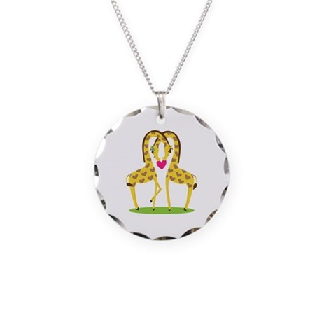 Giraffe Love Necklace Circle Charm