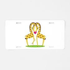 Giraffe Love Aluminum License Plate