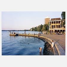 Group of people at a waterfront, Lake Mendota, Uni