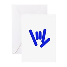 ASL Rocks Bright Blue Greeting Cards (Pk of 10)