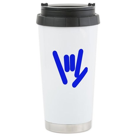 ASL Rocks Bright Blue Stainless Steel Travel Mug
