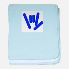 ASL Rocks Bright Blue baby blanket