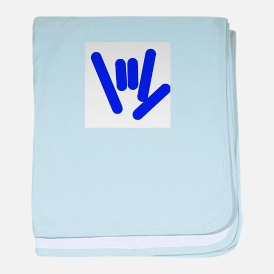 ASL Rocks Bright Blue baby blanket