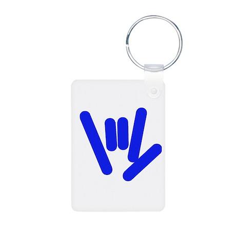 ASL Rocks Bright Blue Aluminum Photo Keychain