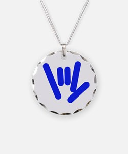 ASL Rocks Bright Blue Necklace Circle Charm
