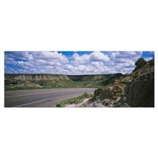 Road passing through a landscape, Badlands, Theodo Poster