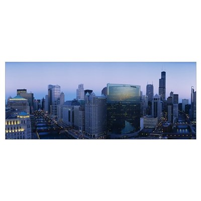 Buildings in a city, Chicago River, Chicago, Illin Poster