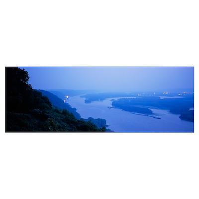 River at dawn, Mississippi River, Upper Mississipp Poster