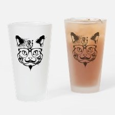 Hipster Cat Drinking Glass