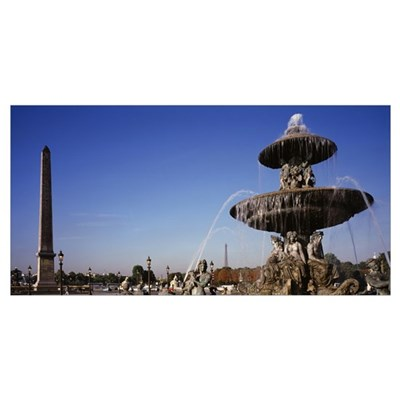 Fountain and Obelisk Place de la Concorde Paris Fr Poster
