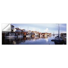 Sweden, Bohuslan, Smogen, Boat moored at the dock Wall Decal
