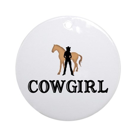 Cowgirl & Horse Ornament (Round)