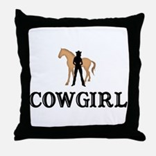 Cowgirl & Horse Throw Pillow