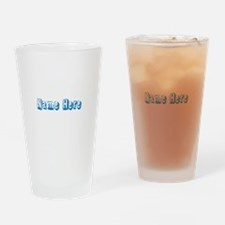 Custom Name Text in Blue. Drinking Glass