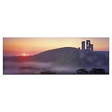 Silhouette of a castle at dusk, Corfe Castle, Dors Poster