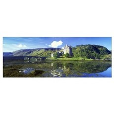 Reflection of a castle and a mountain in water, Ei Framed Print