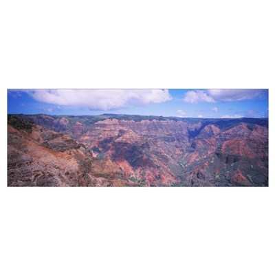High angle view of canyon, Waimea Canyon, Kauai, H Poster