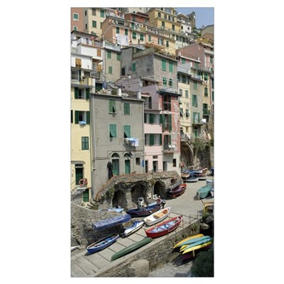 High angle view of houses, Riomaggiore, Cinque Ter Poster