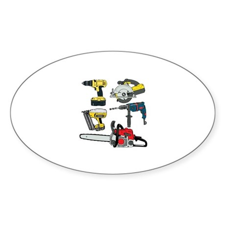 Power Tools. Sticker (Oval 10 pk)