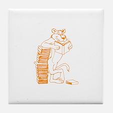 Big Cat Reading a Book. Tile Coaster