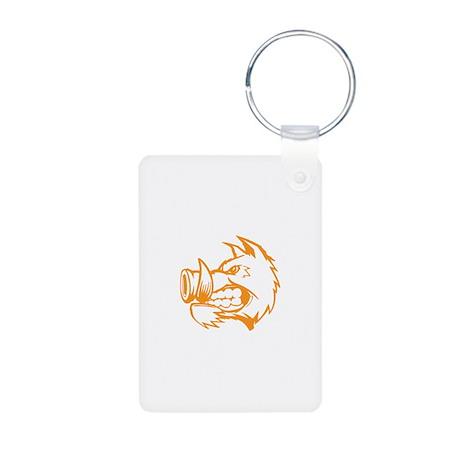 Orange Boar. Aluminum Photo Keychain
