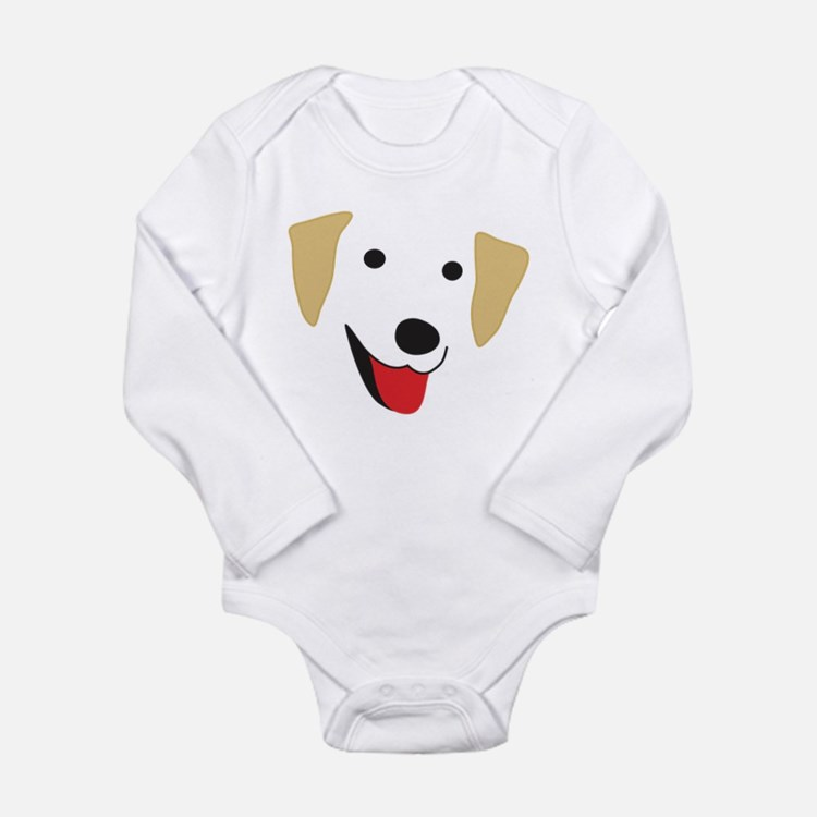 Yellow Lab's Face Long Sleeve Infant Bodysuit