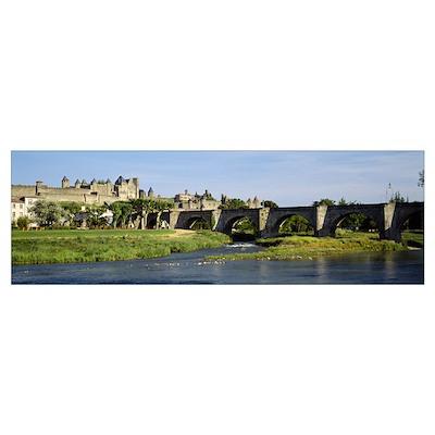 Bridge across a river, Aude River, Carcassonne, La Poster