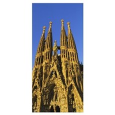 Low angle view of a cathedral, Sagrada Familia, Ba Poster