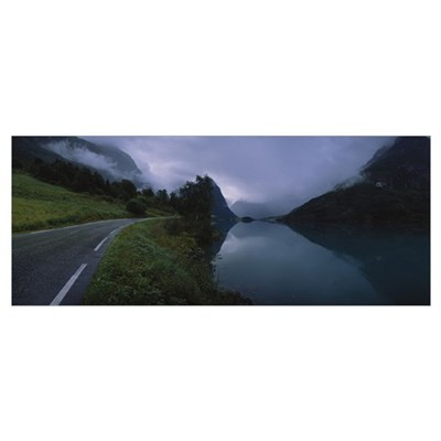 Road along a river, Norway Poster