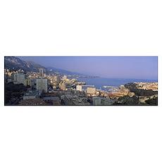 High angle view of a cityscape, Monte Carlo, Monac Poster