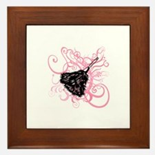 Feather duster, pink swirls. Framed Tile