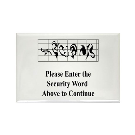 Security Word Rectangle Magnet