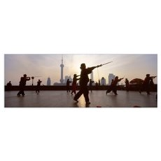 Group of people practicing Tai Chi, The Bund, Shan Poster