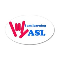 Learning ASL: Red and Blue 22x14 Oval Wall Peel