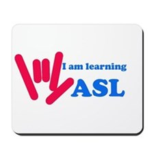 Learning ASL: Red and Blue Mousepad