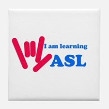 Learning ASL: Red and Blue Tile Coaster