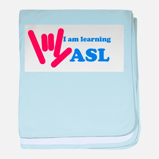 Learning ASL: Red and Blue baby blanket