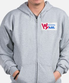 Learning ASL: Red and Blue Zip Hoodie