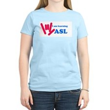 Learning ASL: Red and Blue T-Shirt