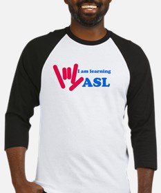 Learning ASL: Red and Blue Baseball Jersey