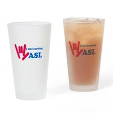 Learning ASL: Red and Blue Drinking Glass