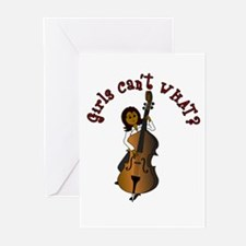 String Upright Double Bass Woman Greeting Cards (P