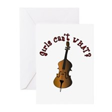 String Upright Double Bass Greeting Cards (Pk of 2