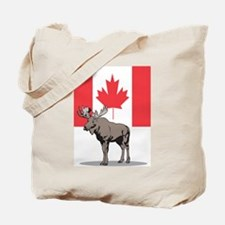Moose With Canada Flag Tote Bag