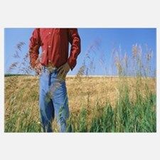 Mid section view of a farmer in an oat field, Saun