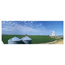 Grain silos in a field, Kearney County, Nebraska Poster