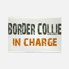 Border Collie IN CHARGE Rectangle Magnet
