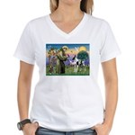St. Francis & Great Dane Women's V-Neck T-Shirt