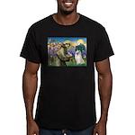St Francis & Samoyed Men's Fitted T-Shirt (dark)